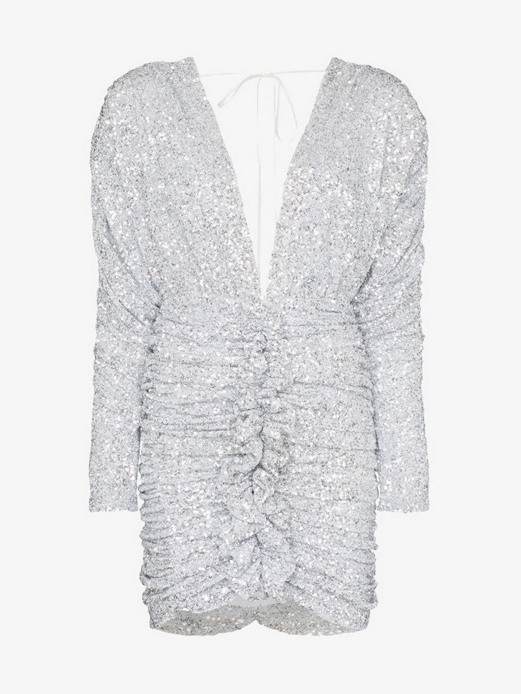 Attico Sequin-embellished ruched mini-dress in metallic