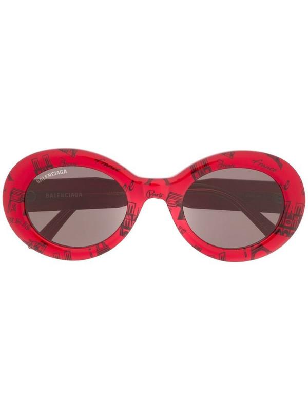 Balenciaga Eyewear Paris print round-frame sunglasses in red