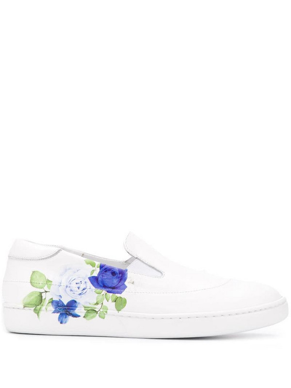 Mr & Mrs Italy rose-print low-top sneakers in white