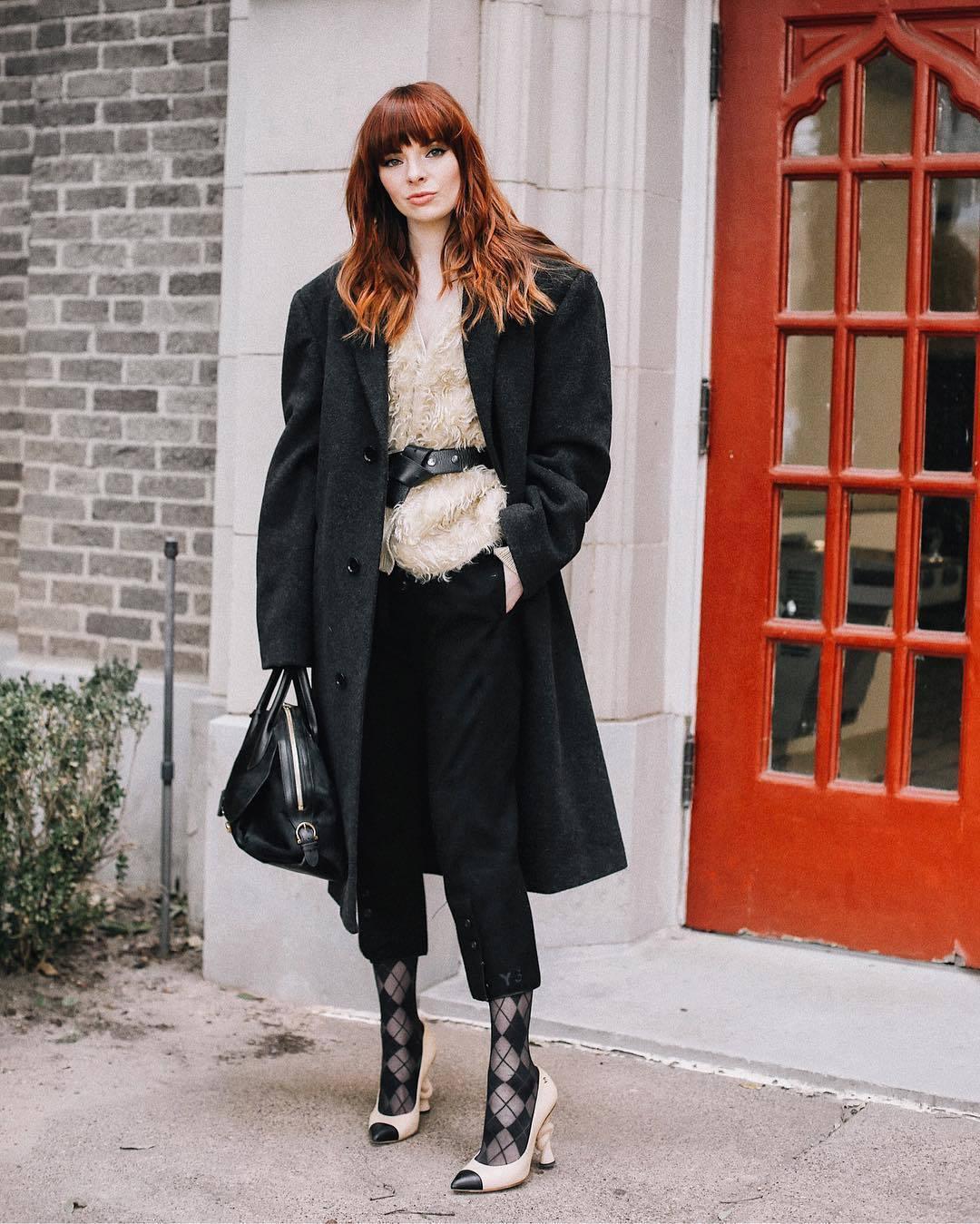 shoes pumps chanel tights black pants straight pants capri pants black bag oversized coat fuzzy sweater prada black belt