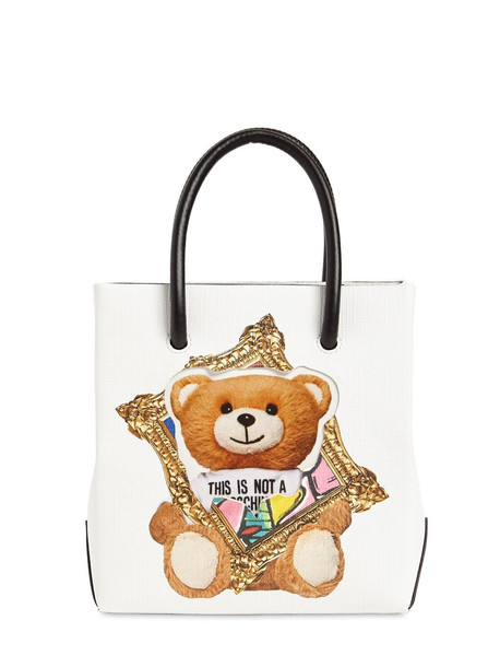 MOSCHINO Sm Teddy Faux Leather Top Handle Bag in white