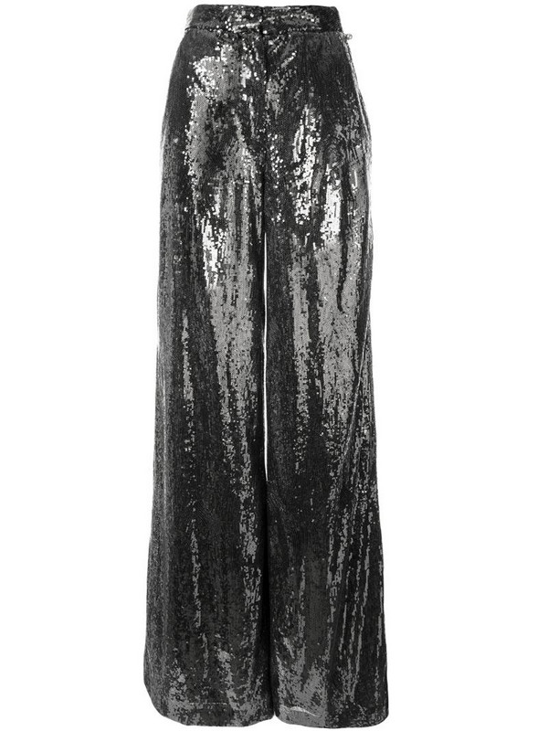 Ingie Paris sequin wide leg trousers in silver