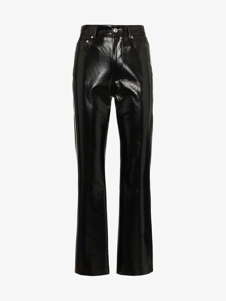 MSGM High Waisted Vinyl Trousers in black