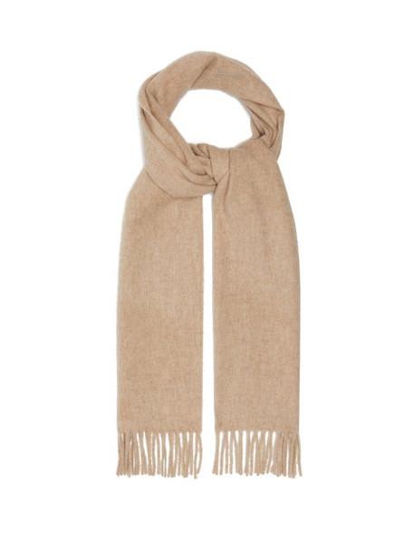 Raey - Fringed Wool Blend Scarf - Womens - Beige