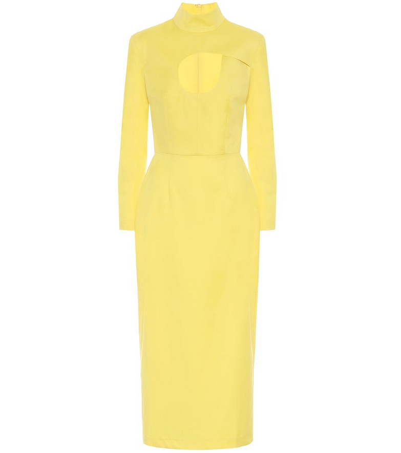 Matériel Tbilisi Wool twill midi dress in yellow