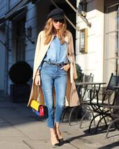 top,denim shirt,skinny jeans,slingbacks,long coat,belt,chanel bag,beret