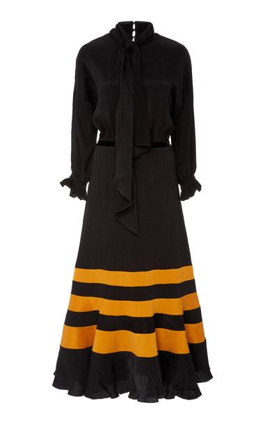 Johanna Ortiz Scarf-Detailed Striped Satin Midi Dress Size: 0 in black