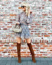 dress,mini dress,blue dress,pleated dress,floral dress,long sleeve dress,over the knee boots,brown boots,heel boots,handbag,black sunglasses
