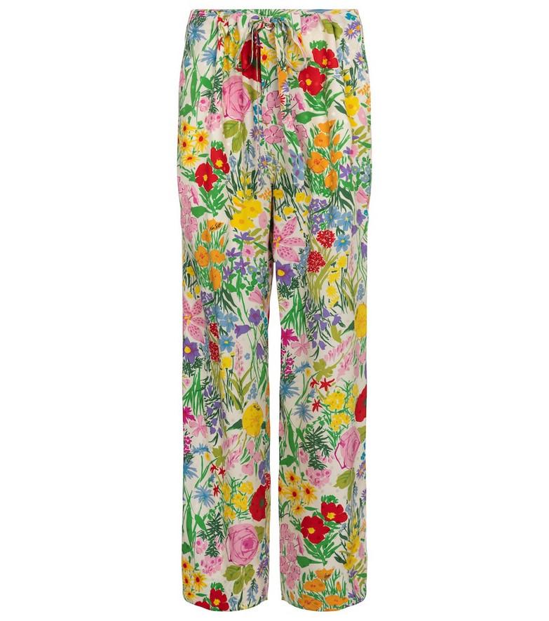 Gucci x Ken Scott floral silk twill straight pants