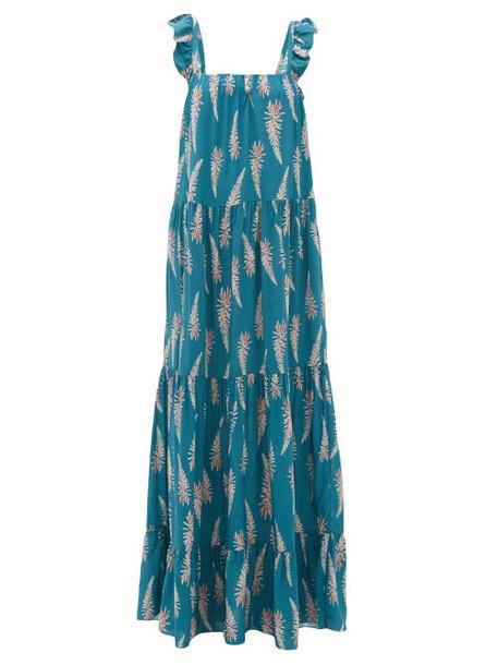 Adriana Degreas - Aloe Print Square Neckline Twill Dress - Womens - Blue Print