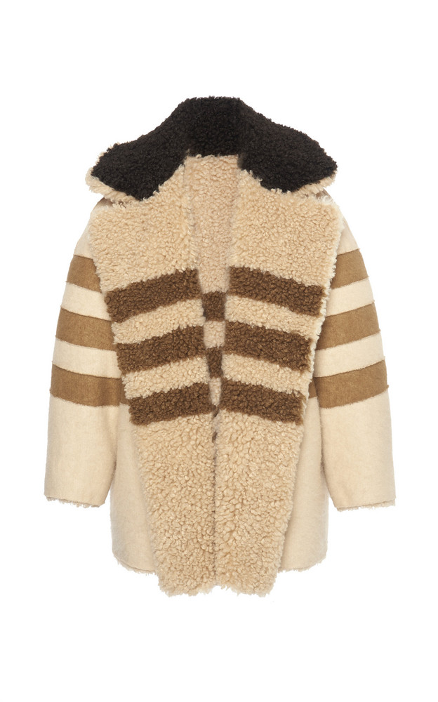 Philosophy di Lorenzo Serafini Striped Faux Fur Coat in brown