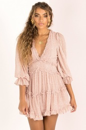 dress,blush pink,puffy sleeve dress,sundae muse,blush,deep v dress,long sleeve dress,three-quarter sleeves