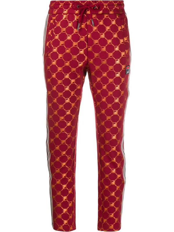 Fila logo print track pants in red
