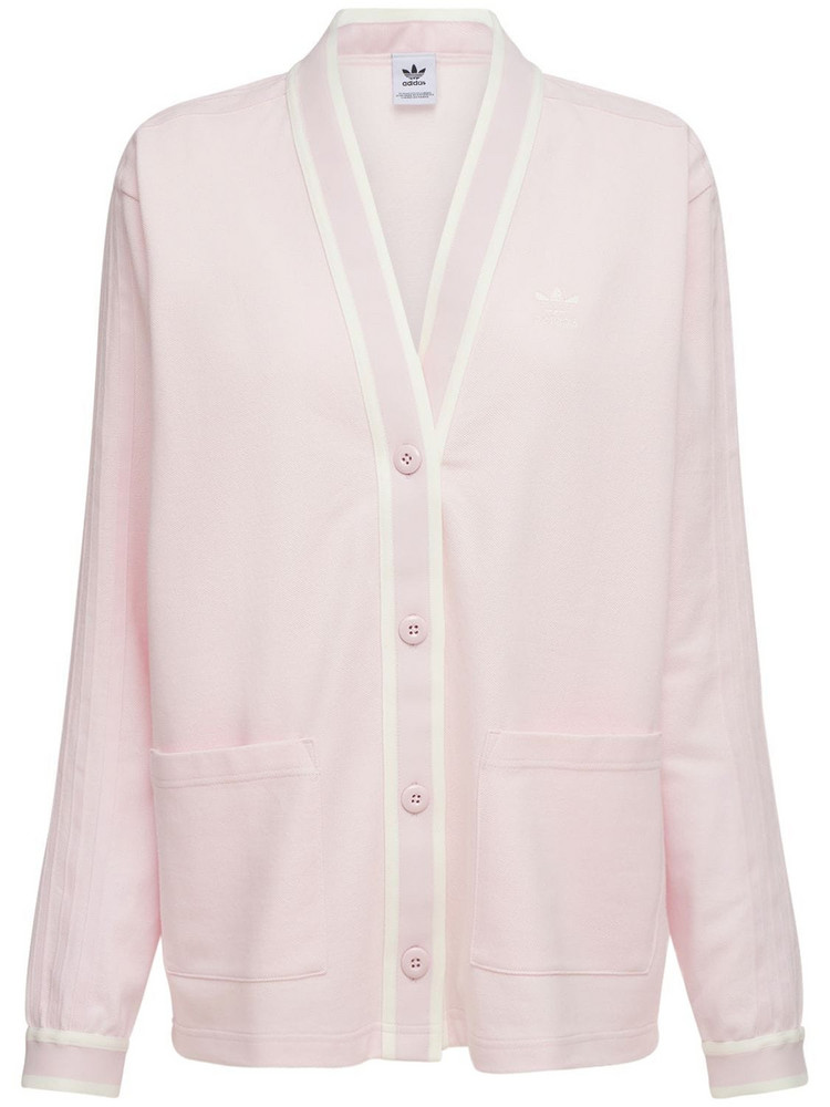 ADIDAS ORIGINALS Logo Cotton Cardigan in pink