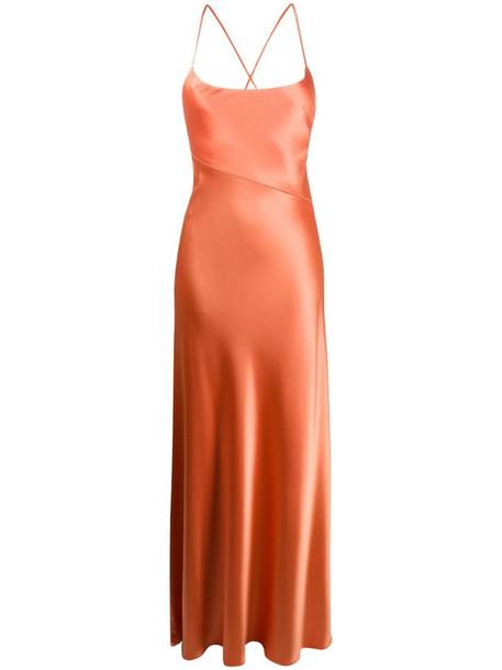 Galvan Serena satin maxi dress in orange