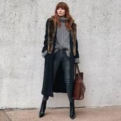 bag,leather bag,brown bag,shoulder bag,black boots,lace up boots,grey jeans,skinny jeans,long coat,turtleneck sweater,grey sweater