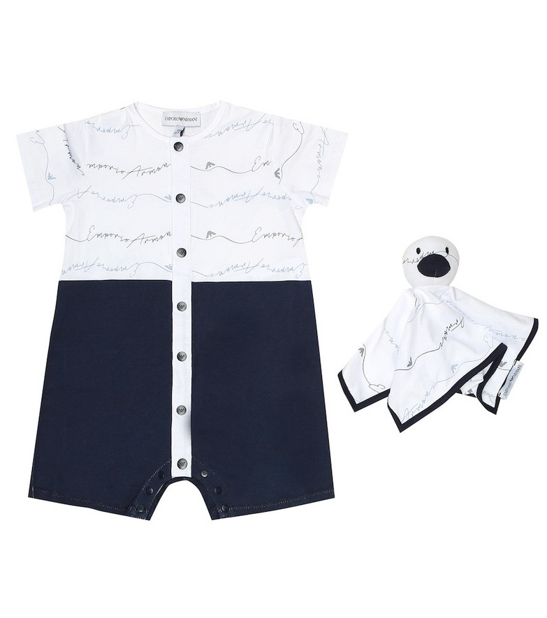 Emporio Armani Kids Baby cotton playsuit and toy set