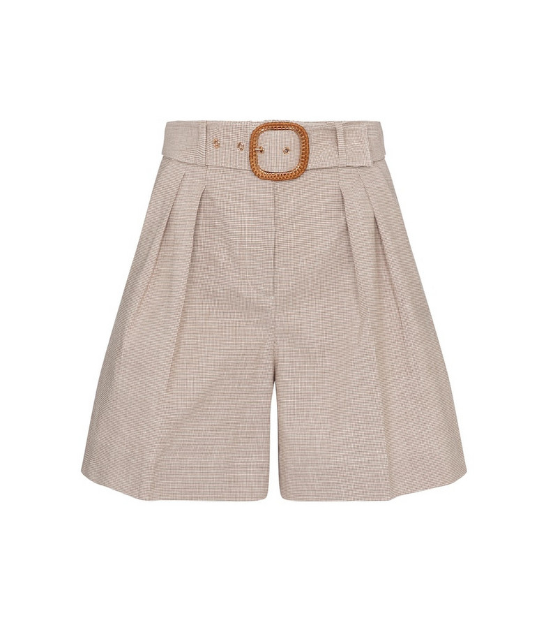 Rebecca Vallance Zohra belted cotton and linen shorts in beige