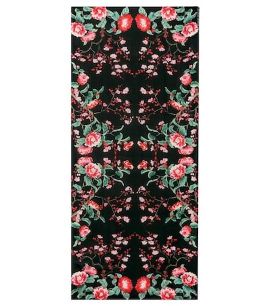 Alexander McQueen Floral silk scarf in black