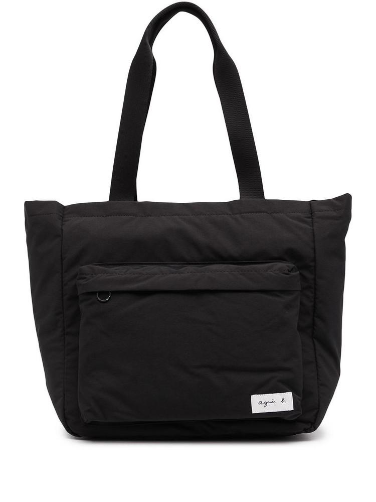 agnès b. agnès b. logo-patch messenger bag - Black