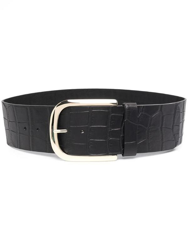 Erika Cavallini crocodile-embossed leather belt in black