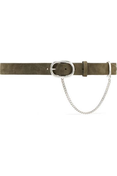 rag & bone - Wingman Chain-embellished Suede Belt - Army green