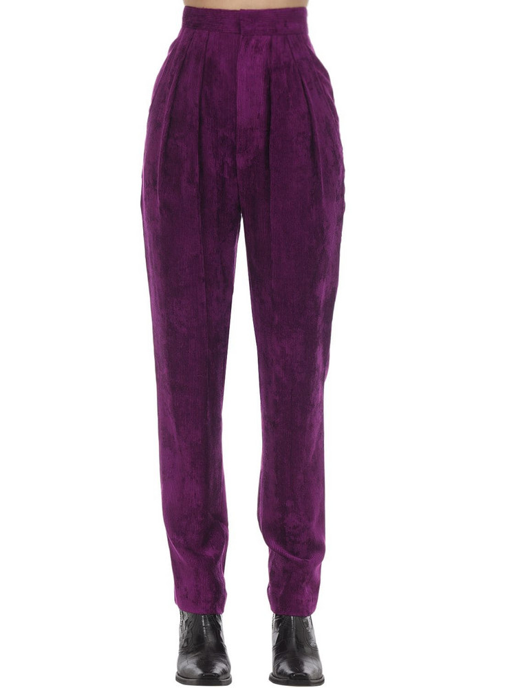 ISABEL MARANT Fany Viscose Velvet Trousers in purple