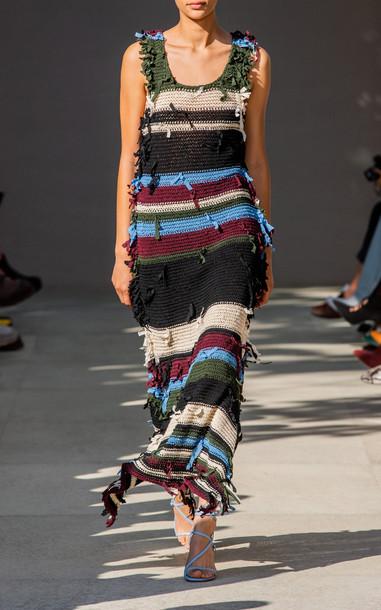 Salvatore Ferragamo Fringed Crochet-Knit Dress Size: 38 in multi