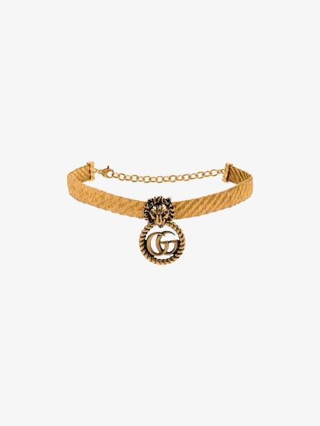 Gucci Gold-plated Lion head GG logo choker
