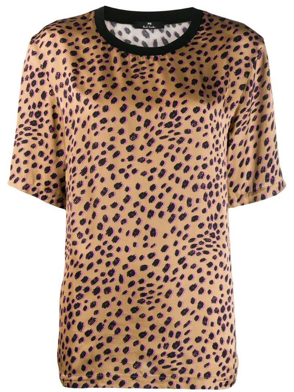PS Paul Smith leopard print satin top in brown