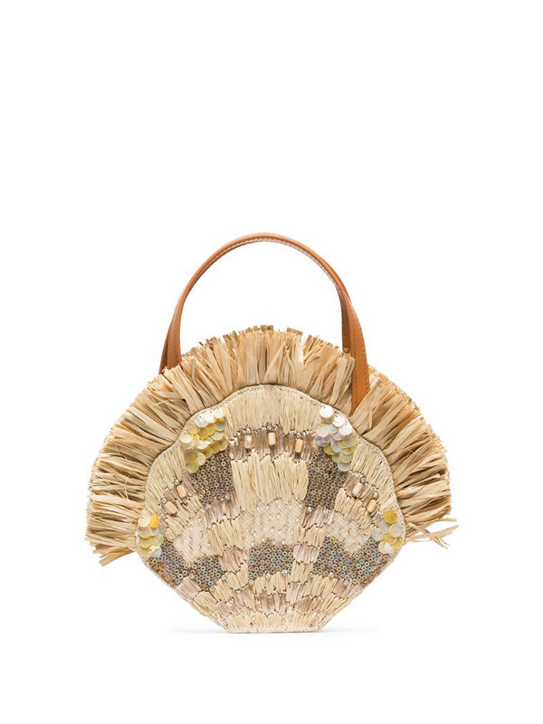 Aranaz Serena raffia and shell mini bag in neutrals