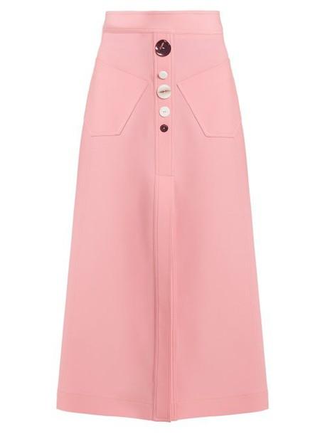 Ellery - Aggie A Line Wool Blend Skirt - Womens - Pink