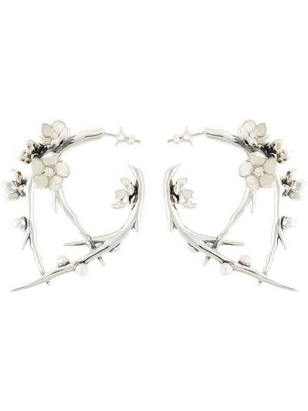Shaun Leane sterling silver Cherry Blossom diamond and pearl branch earrings in metallic