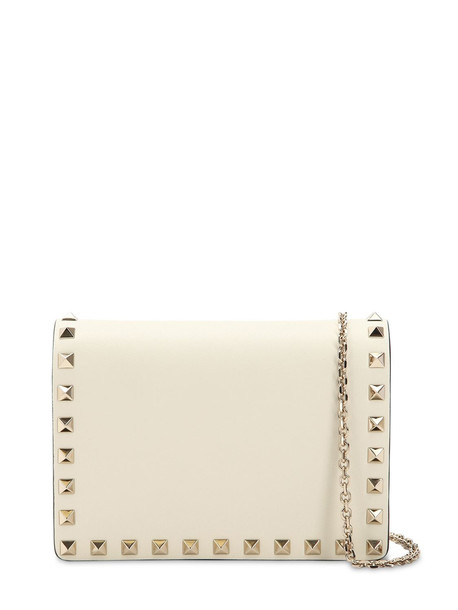 VALENTINO Rockstud Embellished Leather Pouch in ivory