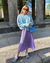 skirt,pleated skirt,midi skirt,sneakers,oversized sweater,prada bag