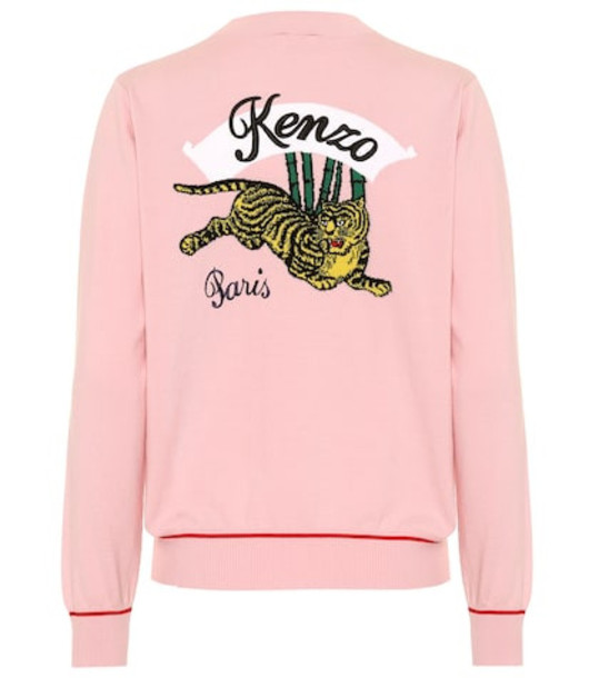 Kenzo Appliquéd cotton-blend jacket in pink