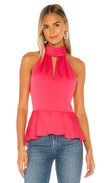 1. STATE Smocked Neck Rumple Hammered Blouse in Pink