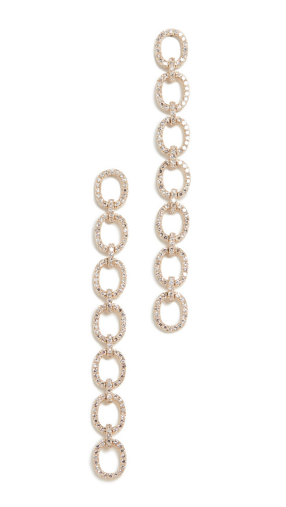 EF Collection 14k Diamond Chain Link Stud Earrings in gold / yellow