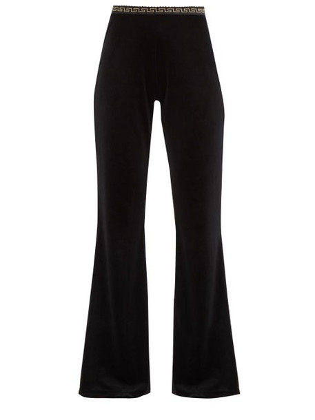 Versace - Greca-waistband Flared Velvet Track Pants - Womens - Black