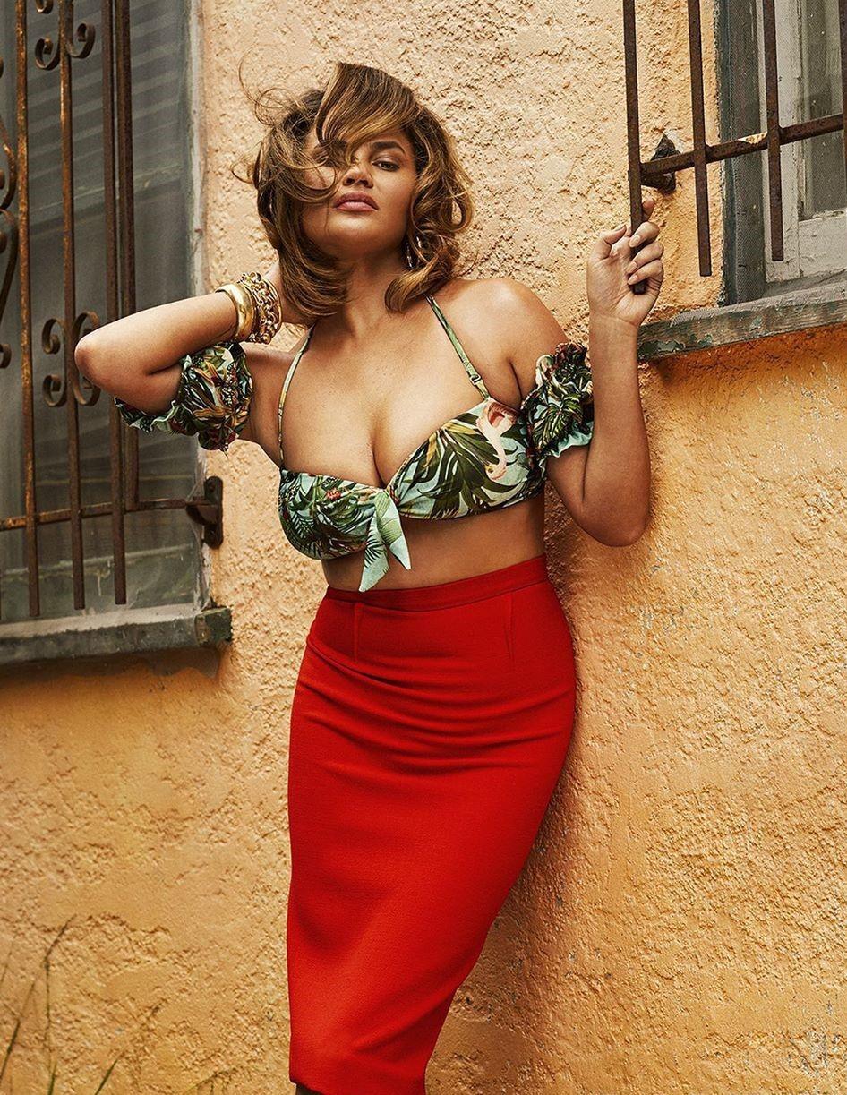 skirt chrissy teigen celebrity high waisted red red skirt bikini top top editorial