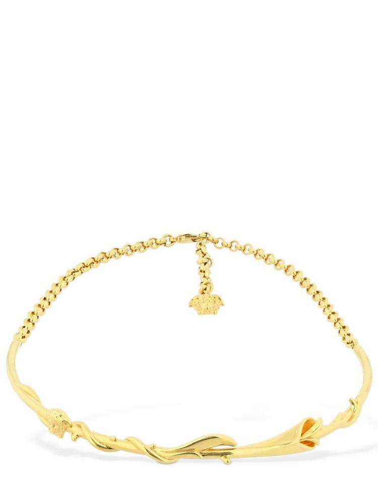 VERSACE Calla Solid & Chain Choker in gold