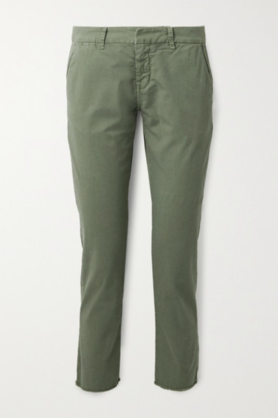 Nili Lotan - East Hampton Frayed Stretch-cotton Twill Slim-leg Pants - Army green
