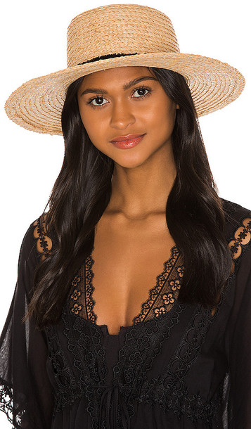 Hat Attack The Boater Hat in Tan in black / natural
