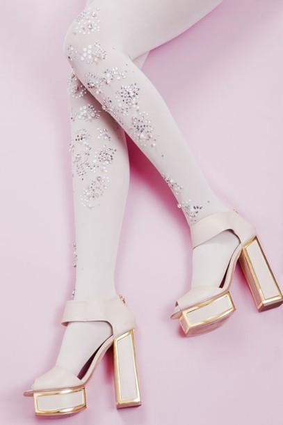 shoes tights embellished thick heel platform shoes platform heels baby pink prom wedding accessories