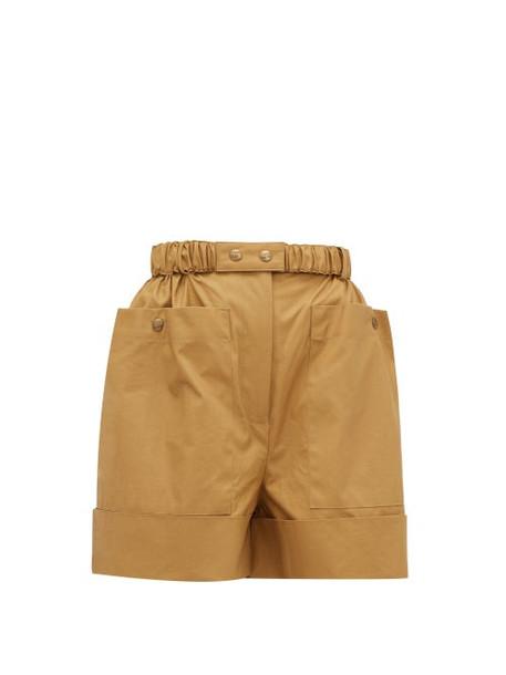 Symonds Pearmain - Belted Waxed-cotton Shorts - Womens - Beige