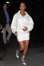 skirt,rihanna,pumps,mini skirt,white shoes,all white everything,celebrity