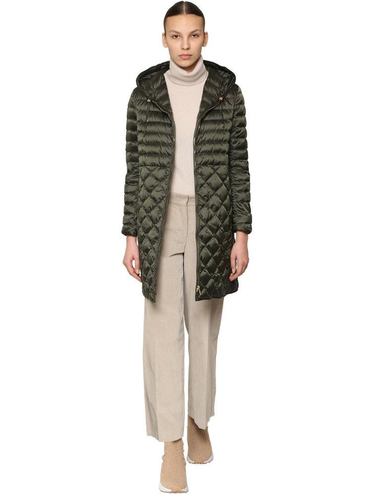 MAX MARA 'S Long Hooded Nylon Down Coat in green