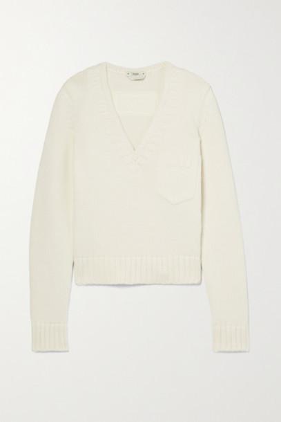 Fendi - Cropped Cotton-blend Sweater - Off-white