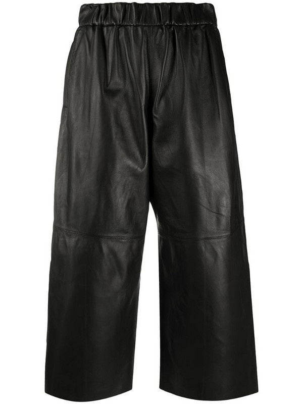 In The Mood For Love cropped lambskin wide-leg trousers in black
