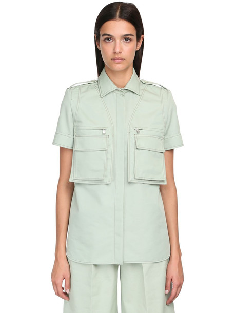 MAX MARA Cotton Twill Short Sleeve Shirt in green